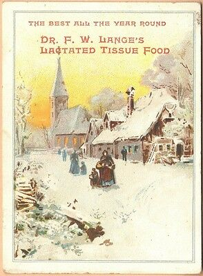 Victorian Trade Card-Dr Lange's Lactated Tissue Food-Church w/ Steeple in Snow