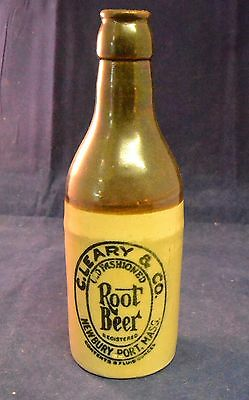CIRCA 1910 C. LEARY & CO. ROOT BEAR STONEWARE BOTTLE - NEWBURY PORT, MA,