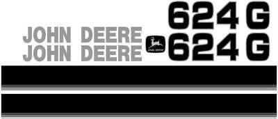 New John Deere 624G New Style NS Wheel Loader Decal Set with Stripe JD Decals