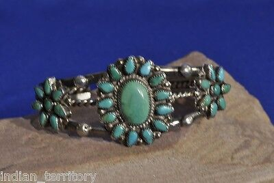 Early Navajo Indian Sterling Silver Bracelet with Turquoise Settings c.1940