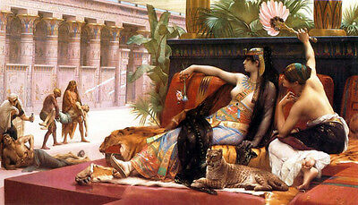 Oil painting Cleopatra on death row who try drugs - Nude woman wit lion