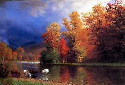 Dream-art Oil painting On the Saco cows in autumn landscape by river canvas 36""