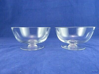 Set of Two Pedestal Clear Glass Ice Cream Dishes