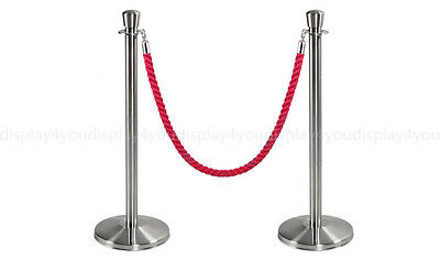 Linno® PREMIUM QUALITY POLISHED STAINLESS STEEL QUEUE BARRIER POSTS 1.5M ROPE