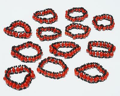 Lot 4 Huayruro Red Seed Bracelets And Other Tropical Seeds, Bead Jewelry
