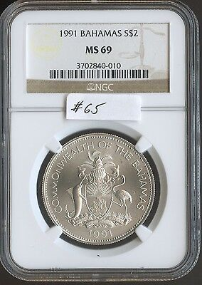 1991 Bahamas $2 (#65) NGC MS69 Only 600 minted. Check out the Photos.