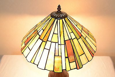 """16""""W Zinc Base Mission style Stained Glass Handcrafted Table Desk Lamp"""