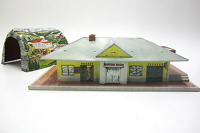 "Vtg Marx/Mar Line Toys Tin/Metal Litho/Lithograph""Glendale""Train Station&Tunnel"