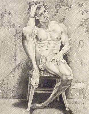 """9"""" x 12"""" drawing print nude male with contemplated look gay art"""