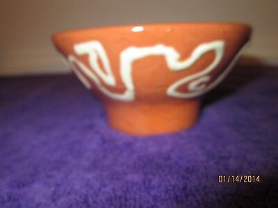 Footed Art Pottery Nut Candy Dish  Pottery Brown White