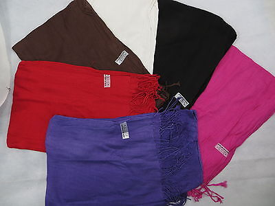 lot of 10 Solid plain color pashmina scarves