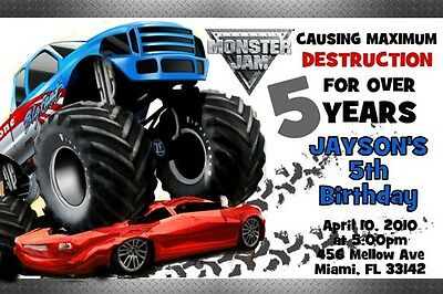 Monster Jam Truck Birthday Invitation 24hr Service UPRINT 4x6 or 5x7