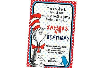 Dr Seuss Birthday Invitation 24hr Service UPRINT 4x6 or 5x7