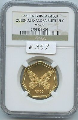 1990 P. N. Guinea G100K Butterfly (#357) NGC MS69. Scarcer Coin 500 Mintage. Non