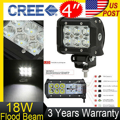 4INCH 18W CREE LED WORK LIGHT BAR FOG LAMP FLOOD OFFROAD MOTORCYCLE SUV 4WD JEEP