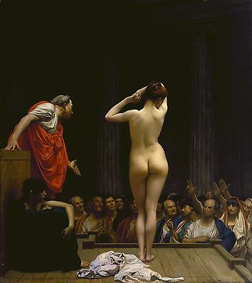 Nice Oil painting A Roman Slave Market - nude young girl standing & buyers