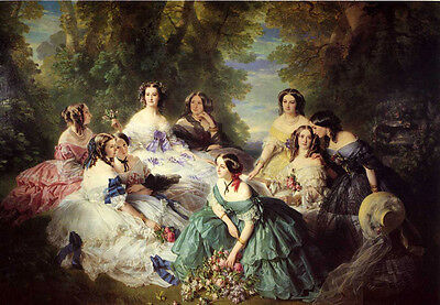 Wonderful Oil painting Empress of Napoleon III with odalisque young nice girls