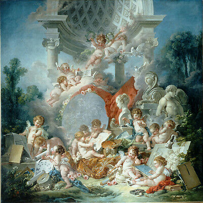 Beautiful Oil painting francois boucher - children angels boys together Create