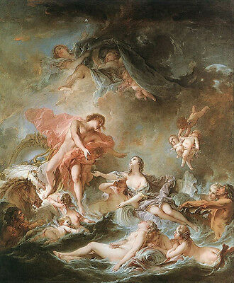 """Oil painting francois boucher - The Setting of the Sun Nude Female & angels 48"""""""
