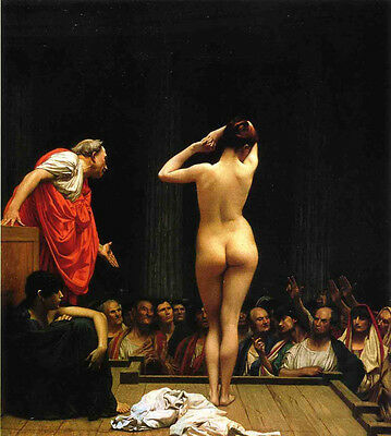 Dream-art Oil painting Jean-Leon Gerom - Selling Slaves in Rome Nude girl canvas