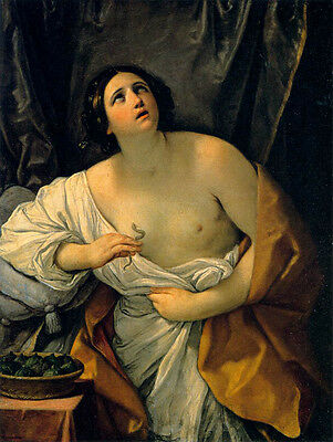 Oil painting Salome Guido Reni - Cleopatra naked young woman with snake canvas