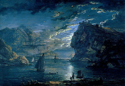 """Beautiful Oil painting seascape sail boats & fishers in moon night canvas 36"""""""