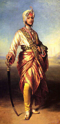"""Huge Oil painting young man portrait Arab Arabian Prince standing with sword 36"""""""