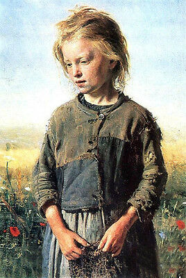 Oil painting REPIN ILIYA EFIMOVICH - Little beggar young girl in landscape