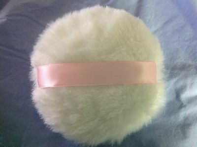 Luxuriously Soft Body powder puff, 6 inches, light pink ribbon handle, no bow