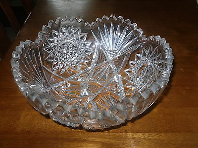 ANTIQUE AMERICAN BRILLIANT CUT GLASS ABP FRUIT BOWL 8 IN VERY NICE