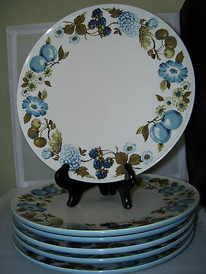 6 Vintage Iroquois Informal Blue Vineyard Informal by Seibel Dinner Plates Mint!