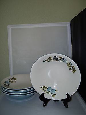 "6 Iroquois Blue Vineyard Informal Ben Seibel 7 3/4"" Soup Bowls Mint Condition"