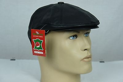 NEW Black 100% LEATHER Mens Gatsby Cap Newsboy Ivy Hat Golf Driving Flat Cabbie