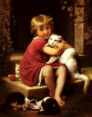 Art oil painting little boy with his pets cats - His best friends no framed