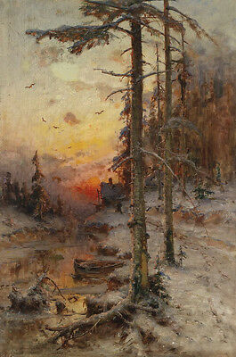 Beautiful Oil painting winter morning landscape with forest sunrise canvas
