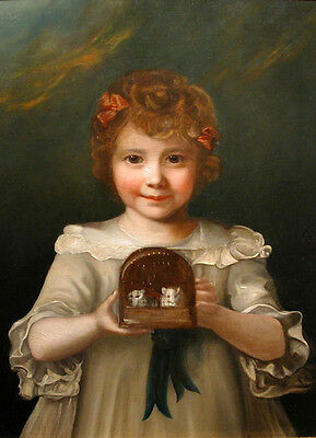 Stunning Oil painting lovely and cute young girl with her pets Hamsters Mouse