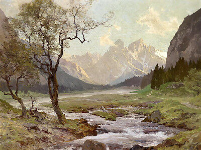 Oil painting early spring landscape trees along the brook & mountains on canvas