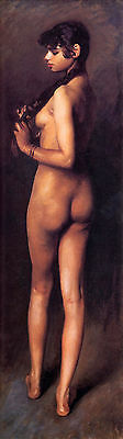 Oil John Singer Sargent - Nude Egyptian Girl - Young beauty portrait canvas