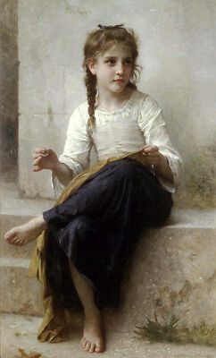 """Dream-art Oil painting Bouguereau - Portrait Nice young girl Sewing canvas 36"""""""