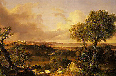 Oil painting Thomas cole - View of Boston shepherd with sheep at sunset view