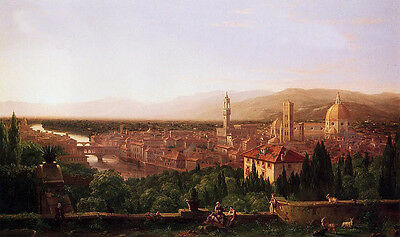 Oil painting Thomas cole - Cityscape View of Florence from San Miniato canvas