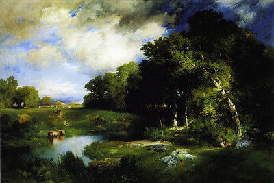 Oil painting Thomas Moran - A Pastoral Landscape with cows rancher by pond