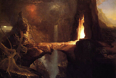 Oil painting Thomas cole - Expulsion - Moon and Firelight Rare in the world view