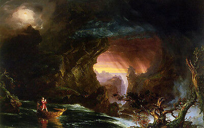 Oil painting Thomas cole - The Voyage of Life Manhood stunning landscape & boat