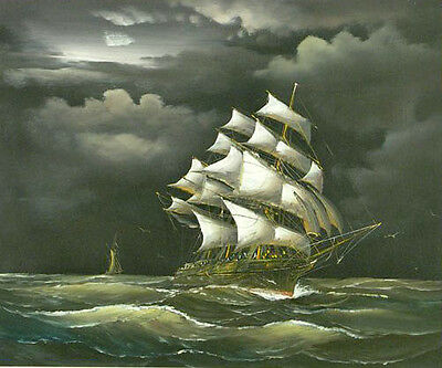 """Oil painting seascape big sail boat on ocean with waves in sunset storm 36"""""""