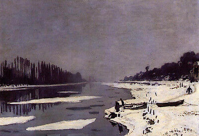Oil painting Claude Monet - Ice Floes on the Seine at Bougival & canoe canvas