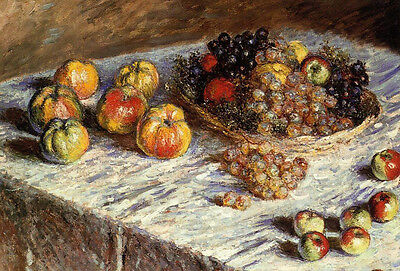 Excellent Oil painting Claude Monet - Still life with Apples and Grapes canvas