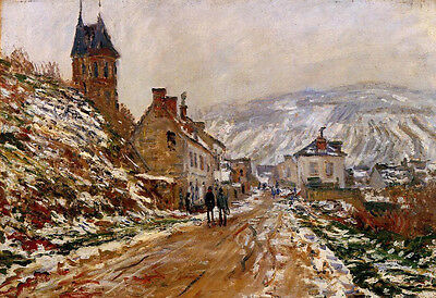 Nice Oil painting Claude Monet - The Road in Vetheuil in Winter village view