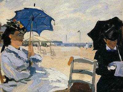 Dream-art Oil painting Claude Monet The Boardwalk at Trouville people by beach