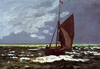 Stunning Oil painting Claude Monet - Stormy Seascape & sail boat ocean canvas